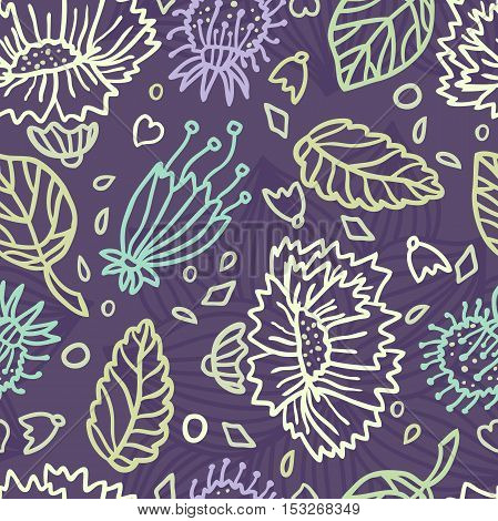 Seamless floral pattern with decorative flower. Retro print. Vintage pattern. Flower pattern. Big Bud. A large flower, mall petals. Delicate pastel pattern. Pattern with flowers and plants. Garden.