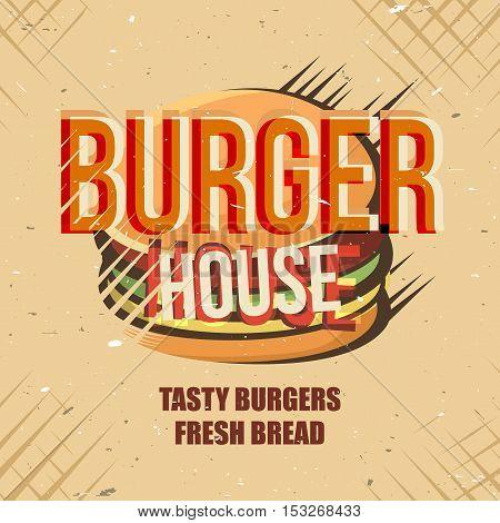 Creative logo design with burger. Vector illustration. Designed to logo, label, emblem design for fastfood menu, restaurant, snack bar or pizzeria.