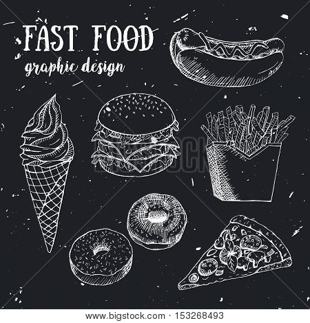 Hand drawn fastfood set. Creative vector illustration. Designed to logo, label, emblem design for fastfood menu, restaurant, snack bar or pizzeria.
