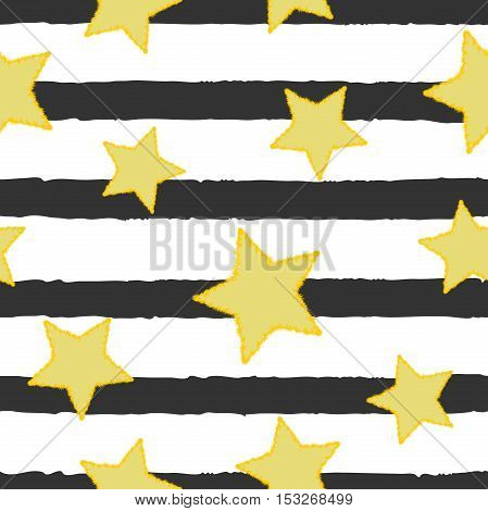 Golden stars on background of horizontal paint brushstrokes. Seamless vector texture for print and web