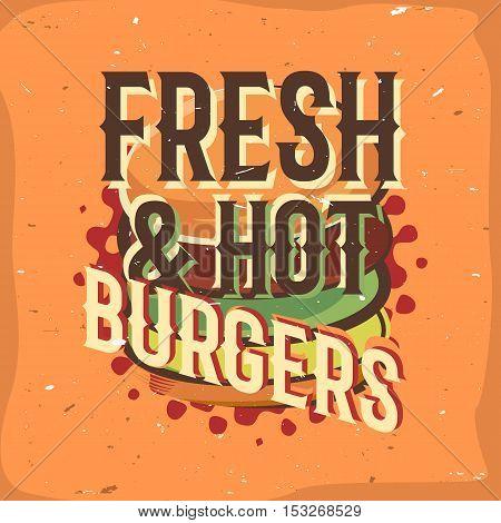 Creative logo design with burger. Vector illustration. Designed to label, emblem design for fastfood menu, burger house, snack bar or pizzeria.