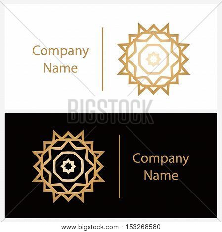 Luxury logotype in the shape of a flower for antique boutique. Gold logo, flower. Simple geometric sign. Icons, business, invitations. Volumetric golden big bud. Vintage. Islam, Arabic, Indian.
