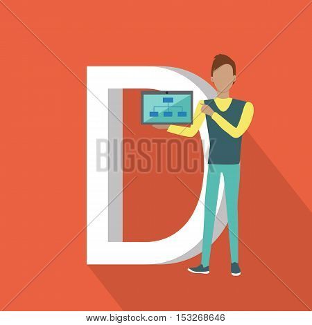 D letter and person demonstrating chart on the tablet. SEO concept in flat style. Human characters with computers and mobile devices working for content search engine optimization and designing sites