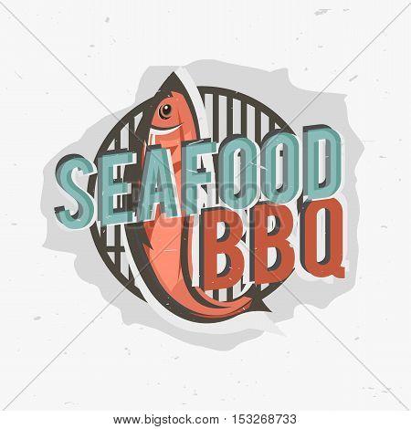 Creative logo design with grilled fish. Vector illustration. Designed to label, emblem design for restaurant menu, bistro, cafe or pizzeria.