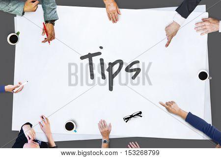 Tips Tricks Helpful Information Concept