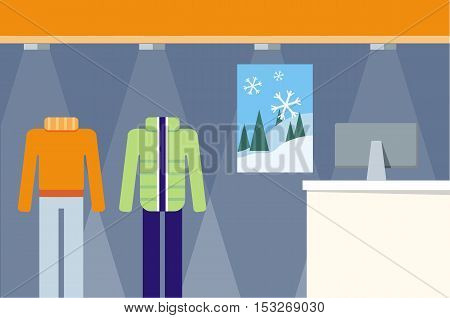 Clothes shop showcase concept vector. Flat design. Seasonal change in store range illustration. Pants, sweater, down jacket on mannequins in shop floor. Picture for flayers, visual ad, web design.