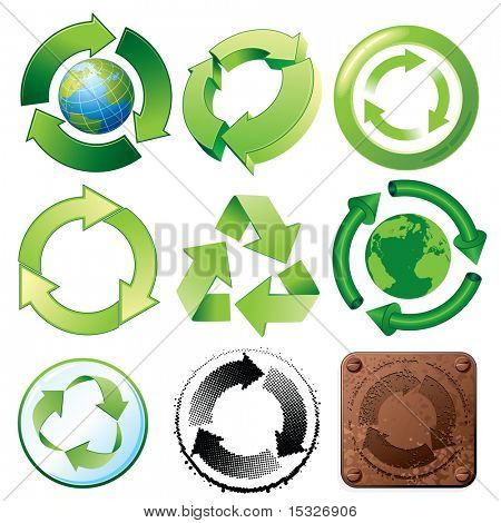 Recycle symbols-various stylized icons and buttons