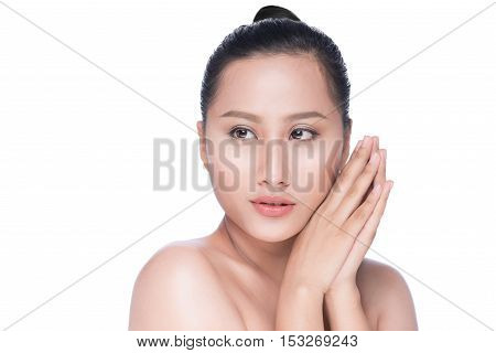 Young asian woman's beauty. Portrait of girl over white background. Beauty treatment spa health care body and skin care concept.