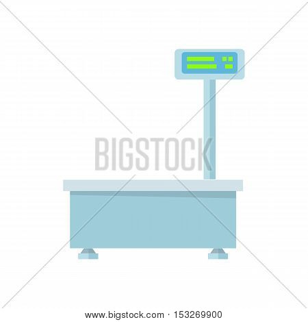 Blue electronic market scale. Scale icon in flat. Food scale icon. Weight scale icon. Supermarket equipment. Isolated object on white background. Vector illustration.
