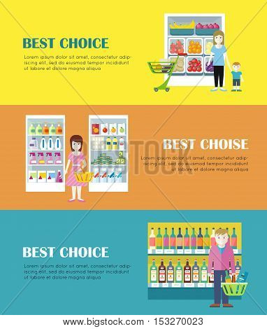 Set of best choice concept web banners. Flat style. Shopping in grocery store. Customers choose daily products from supermarket shelves. Illustrations for retail store advertising, web pages design.