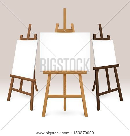 Wooden easel set with blank white canvases represented from different sides isolated vector illustration