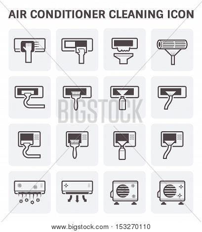 Air conditioner and air filter cleaning vector icon set.