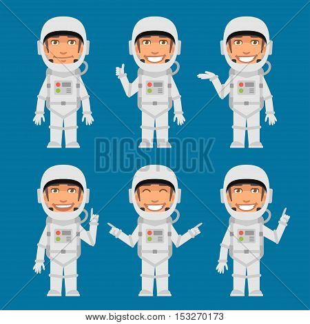 Vector Illustration, Astronaut Indicates and Shows, Format EPS 8