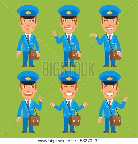 Vector Illustration, Postman Indicates and Shows, Format EPS 8