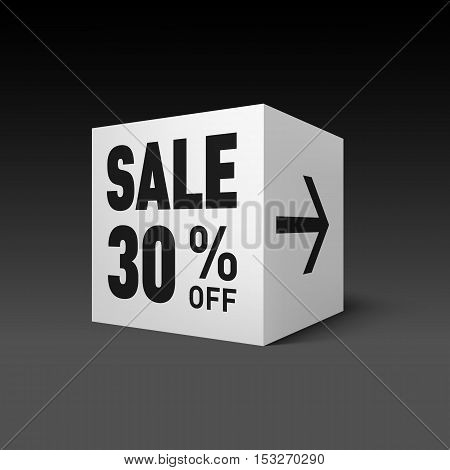 Cube Banner Template for Holiday Sale Event. Thirty Percent off Discount