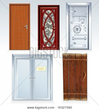 Doors Collection-classic bank vault door,wooden door, church front door, office double door, aged rural door. Vector illustration, only simply colors used.