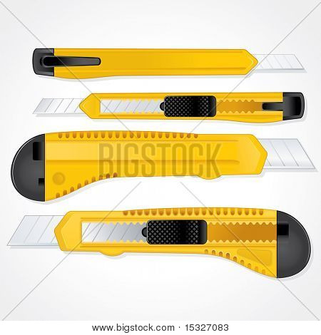 Vetor de faca de plástico papel de escritório ilustração separadas e agrupadas elementos (lâmina retrátil)