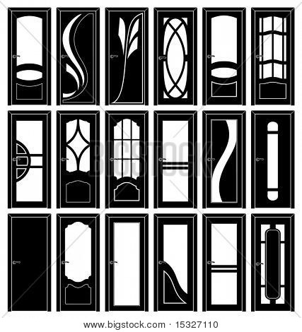 Collection of classic doors silhouettes - vector decor detail clip art-to see more similar images, please visit my Gallery