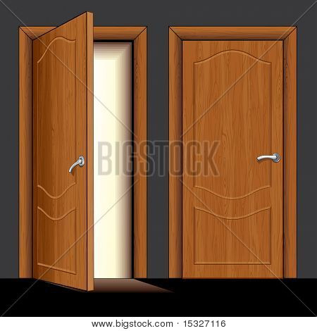 vector Illustration of opened and closed classic wooden door only simply colors used (similar version vector id=61748365)