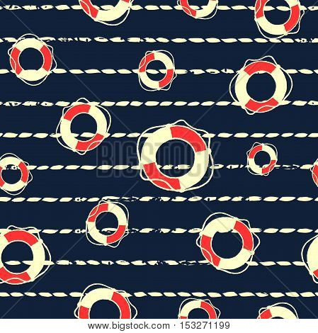 Seamless pattern on the nautical theme. Silhouettes life buoy on the background of the marine rope. Vector illustration