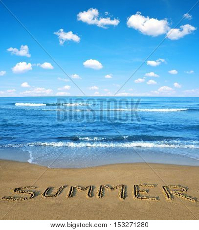 Blue sea and sky in the foreground sandy beach. The concept of summer vacations.