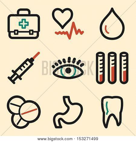 Medicine web icons. Hospital and health symbols.