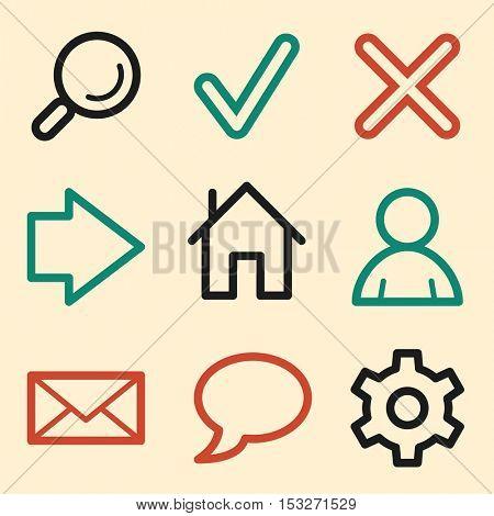 Basic web symbols. Mobile icons