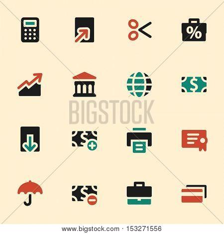 Finance web icons set. Mobile screen symbols.