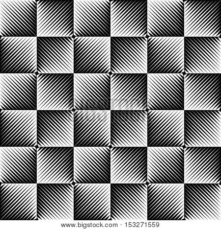 Seamless Square and Stripe Pattern. Abstract Monochrome Background. Vector Regular Texture. Minimal Line Design