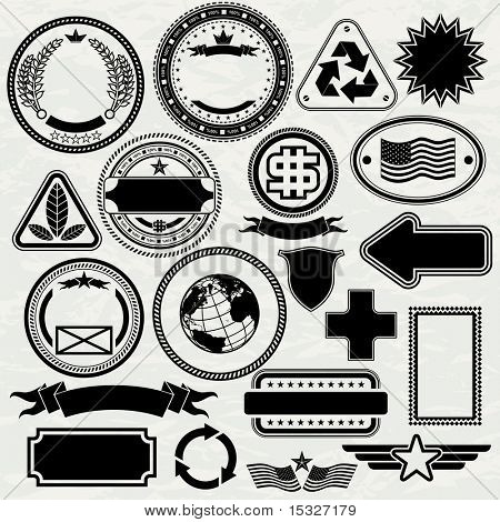 Blank Stamps templates - set for your design, vector elements separated