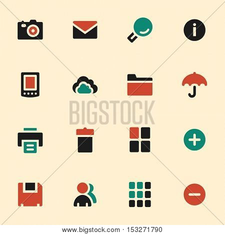 Photo collection web icons set. Mobile screen symbols.