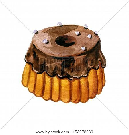 choclate glazed cake drawing in watercolor, sweet bakery isolated at white background, hand drawn illustration