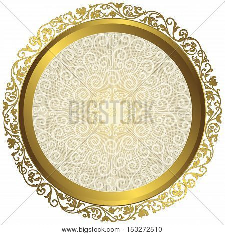 Gold and white vintage round isolated frame with rays over white vector eps10