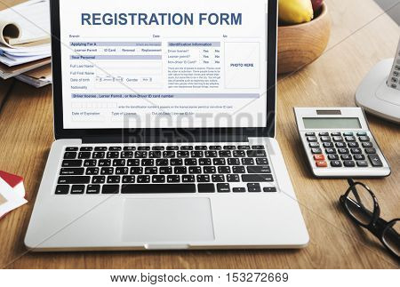 Registration Form Application Information Concept