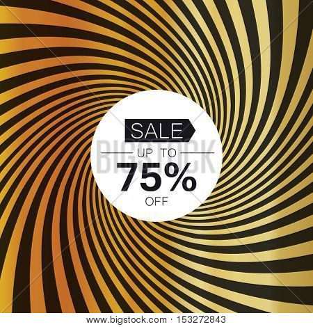 Sale card template. On golden rays background