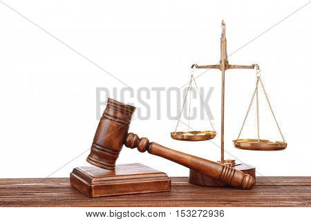 Judge's gavel and scales on white background