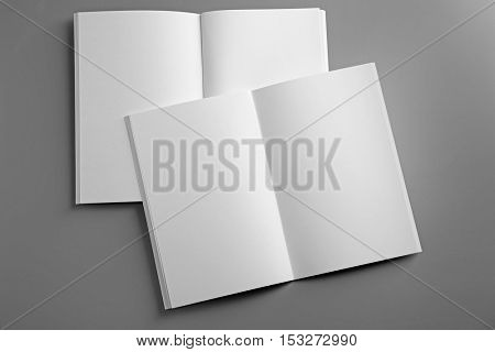 Blank open brochures on grey background