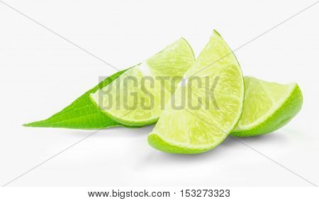 fresh lime wedges isolated on a white background.