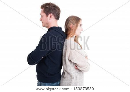 Couple Standing Back To Back Like Being Upset