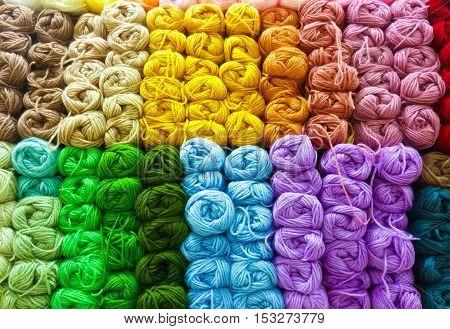 Image of colorful wool yarn knitting wool