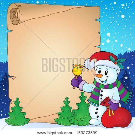Parchment with Christmas snowman theme 2 - eps10 vector illustration.