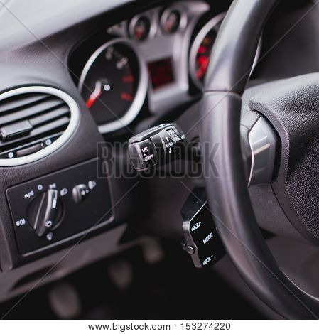 Car Wiper lever switch control paddle on steering wheel