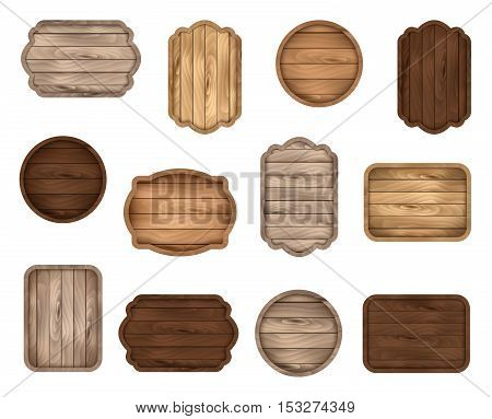 Wooden stickers label collection. Set of various shapes wooden sign boards for sale price and discount banners badges isolated on white background. Vector illustration.