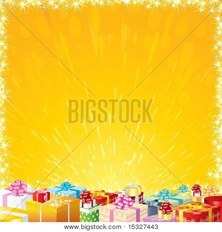 Joyful Festive background with Motley Gift Boxes - ready for your greeting or wishes text