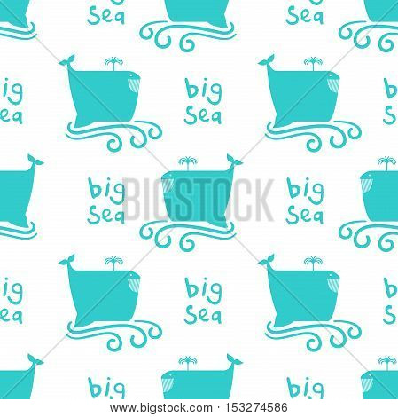 Just seamless pattern on the marine themed. Simple funny whale on swirl waves background. Big sea. Vector illustration