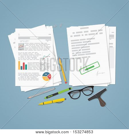 Heap of financial documents. Flat style vector illustration. Two piles of business report paper document and sheets. Stamp and pencils with glasses.