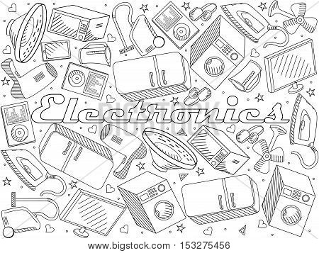 Electronics coloring book line art design vector illustration. Separate objects. Hand drawn doodle design elements.