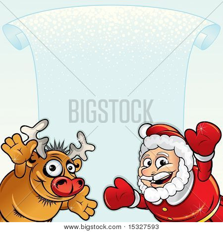 Christmas background with Funny Santa, Reindeer and blank ice scroll