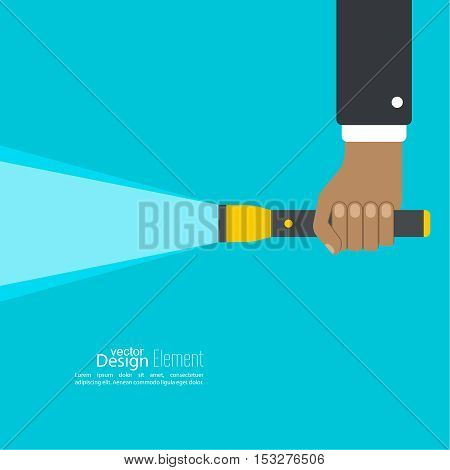 Vector background with hand holding a flashlight. Vector flat flashlight illustration. The concept of search optimization, seo. Pocket flashlight icon.