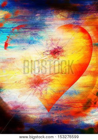 heart shape in the sky, abstract graphic collage background